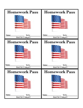 Memorial Day Homework Pass