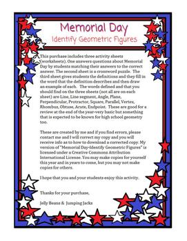 Memorial Day-Identify Geometric Figures 1