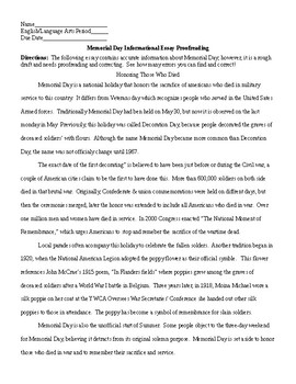 Memorial Day Informational Essay Proofreading and KEY