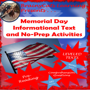 Memorial Day Informational Text and No-Prep Activities