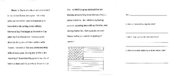 Memorial Day Informational Text and Questions
