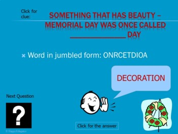 Memorial Day PowerPoint Game - Jumbled Words