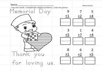 Memorial Day Kindergarten  Holiday Activities