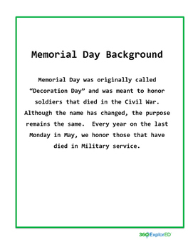 Memorial Day Lesson Plan: 360°ExplorEd