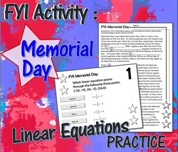 Memorial Day Linear Equations