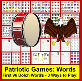 Memorial Day Activities: Sight Words Card Games & Memory - Set 1 of 2