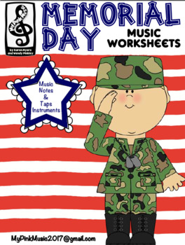Memorial Day MUSIC Sheets: color by note/hidden pictures/maze/writing page
