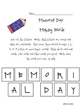 Memorial Day Making Words
