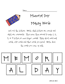 Memorial Day Making Words