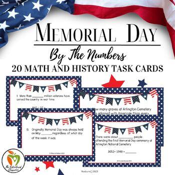 Memorial Day Math Task Cards 4th-6th Grades