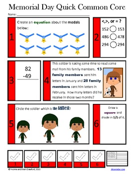 Memorial Day Math and Literacy Activities Second Grade Common Core