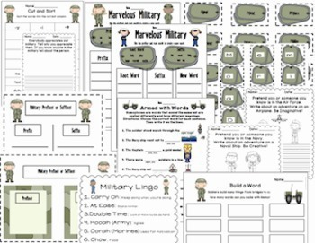 Memorial Day & Military Literacy, Math, Glyph, Craftivies & More Pack