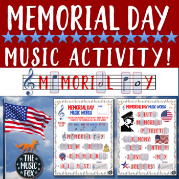 Memorial Day Music Activity! Letter/Music Note Fill-Ins (Treble/Bass Clef)
