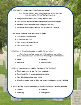 Memorial Day Nonfiction Close Reading Passage and Questions