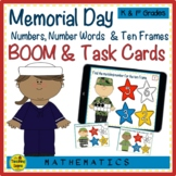Memorial Day Numbers, Number Words & Ten Frames BOOM & Task Cards Match Game