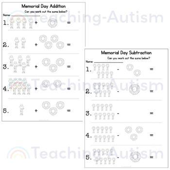 Memorial Day Math Worksheets