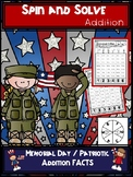 Memorial Day | Patriotic Addition Spin and Solve Math Centers