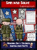 Memorial Day | Patriotic Subtraction Spin and Solve Math Centers