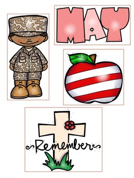 Memorial Day Picture Match File Folder Game