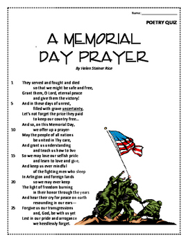 Memorial Day Poem and Quiz