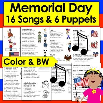 Memorial Day Poems/Songs - 16 Poems + 6 Finger Puppets Shared Rdg & Fluency