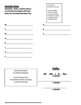Memorial Day Poetry Project with Poetry Templates, Word Bank, & Rubric