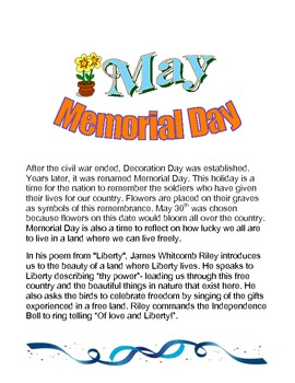 Memorial Day: Poetry and Activities For Memorial Day