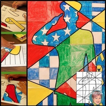 Patriotic Soldier Collaborative Poster:  Great for Your Veterans Day Activities!