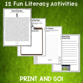 Memorial Day Print and Go Activity Pack 10 Engaging ELA Resources