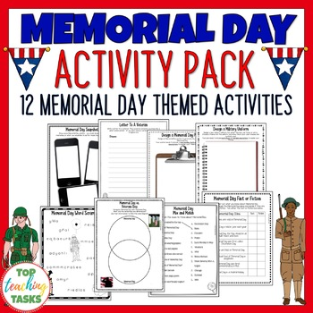 Memorial Day Print and Go Activity Pack - 10 Engaging ELA
