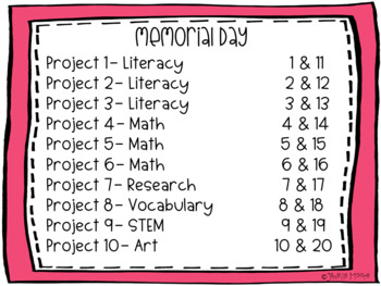 Memorial Day Project-Based Learning & Enrichment for Literacy, Math & STEM