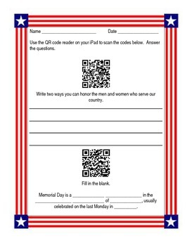 Memorial Day QR Code Webquest