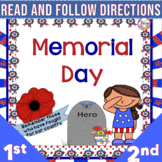 Read and Color to Follow Directions Activities Memorial Day  NO PREP