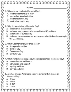 Memorial Day Reader plus Comprehension Check (includes large copy for Teacher)
