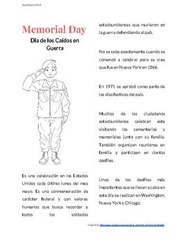 Memorial Day Reading Activity in Spanish