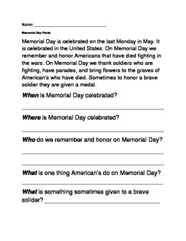 Memorial Day Reading Comprehension