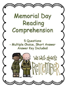 Memorial Day Reading Comprehension - Non-fiction - Key Included