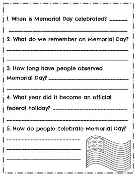 Memorial Day Reading Comprehension Passage & Questions with Poppy Craft