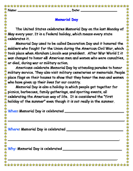 Memorial Day Reading Comprehension Worksheet by Teach by Heart | TpT