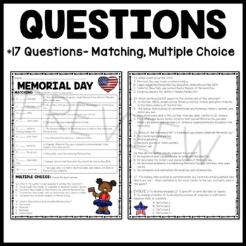 Memorial Day Reading Comprehension Worksheet, May, Holidays, Veterans, Soldiers