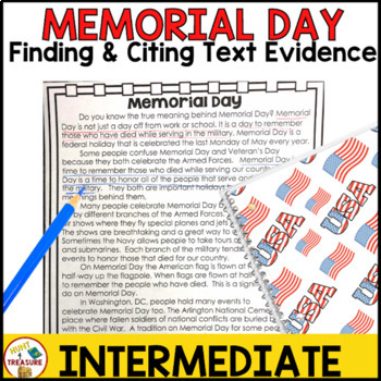 Memorial Day Reading Passage- Finding and Citing Text Evidence