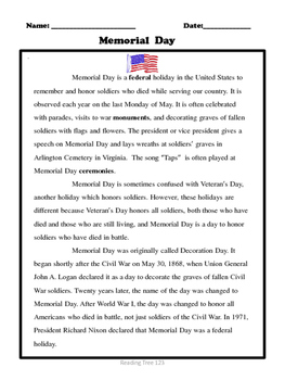 Memorial Day Reading Passage and Activities