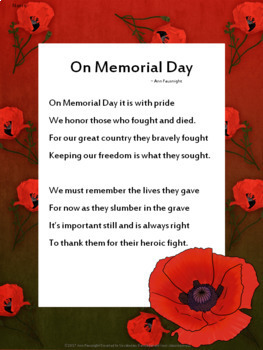 Memorial Day Reading Passage and Poem