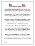 Memorial Day Reading Passage with Comprehension Questions