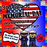 Memorial Day Reading, Writing, Math, Fun Activities & Worksheets- 3rd Grade