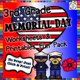 Memorial Day Reading, Writing, Math, Fun Activities & Worksheets- 3rd Grade