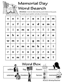 Memorial Day Rebus Word Search *Easy*