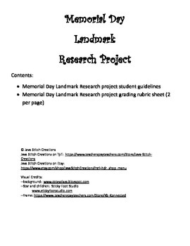 Memorial Day Landmark Research Project