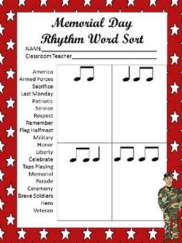 Memorial Day Rhythm Word Sort