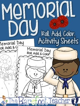 Memorial Day Roll, Add, & Color Activity Sheets | TpT